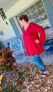 Curvy Ruby Red Lace Top