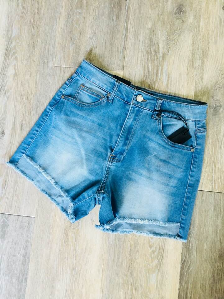 Light Denim Frayed Shorts