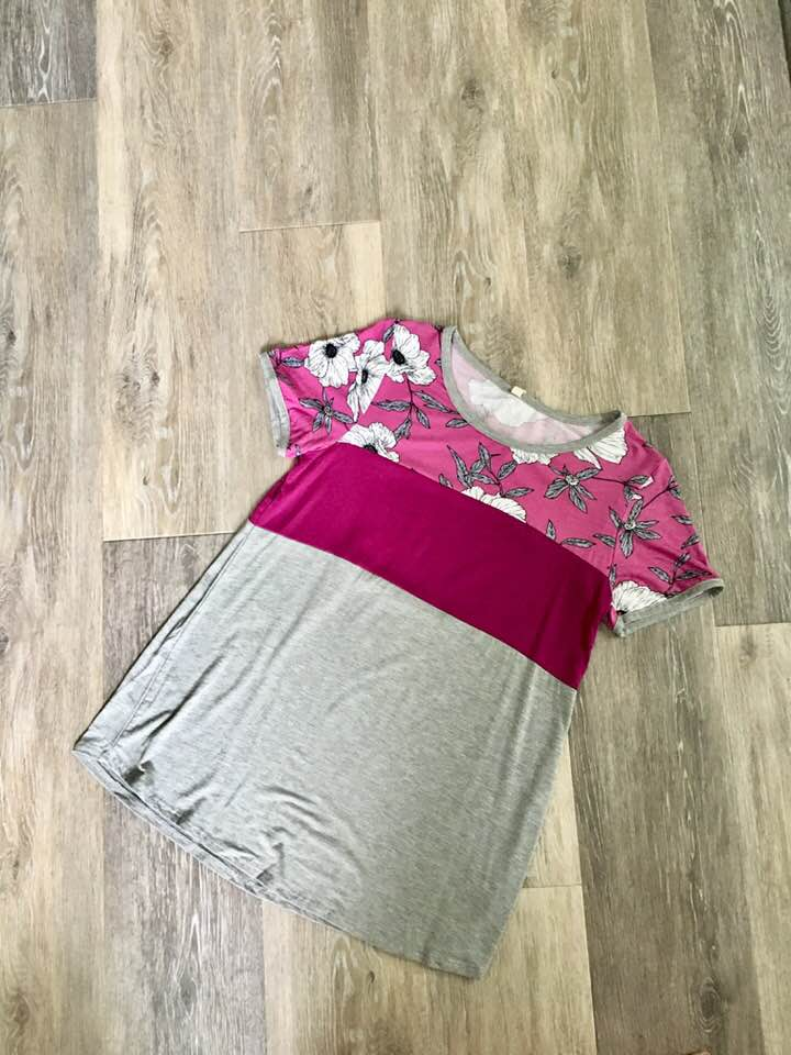 Magenta Floral Color Block Top
