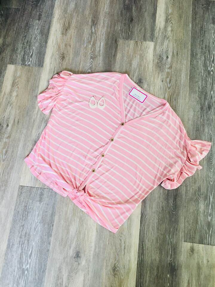 Pink Button Front Tie Top