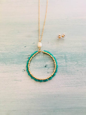 Teal Circle Necklace & Earrings