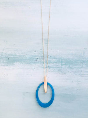 Teal Circle Necklace