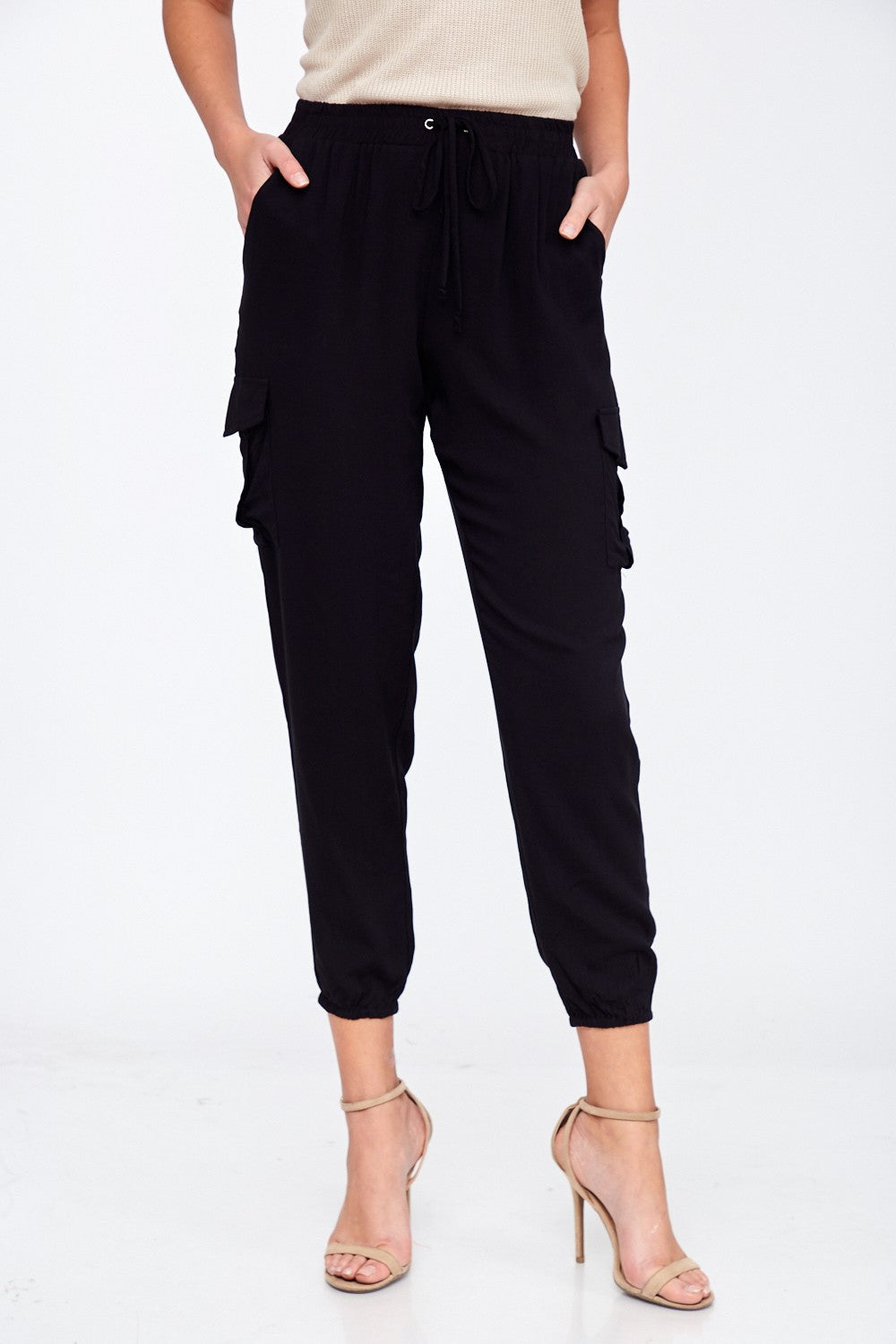 Black Cropped Cargo Pants
