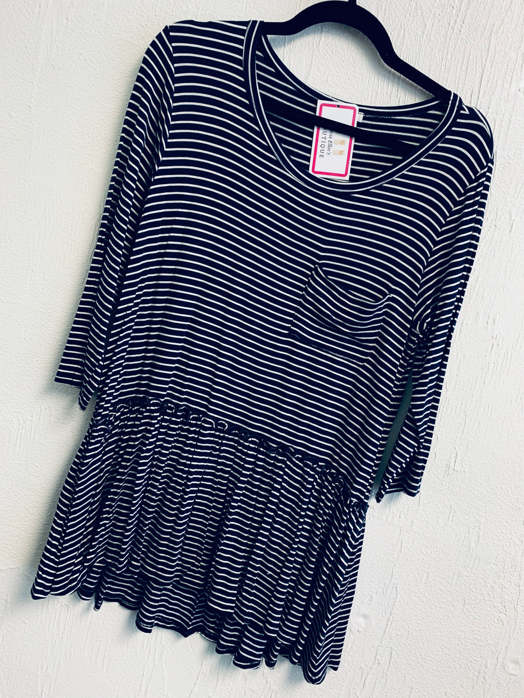 Navy striped babydoll tunic