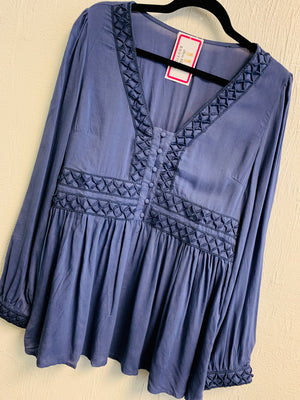 Slate blue V-neck Tunic