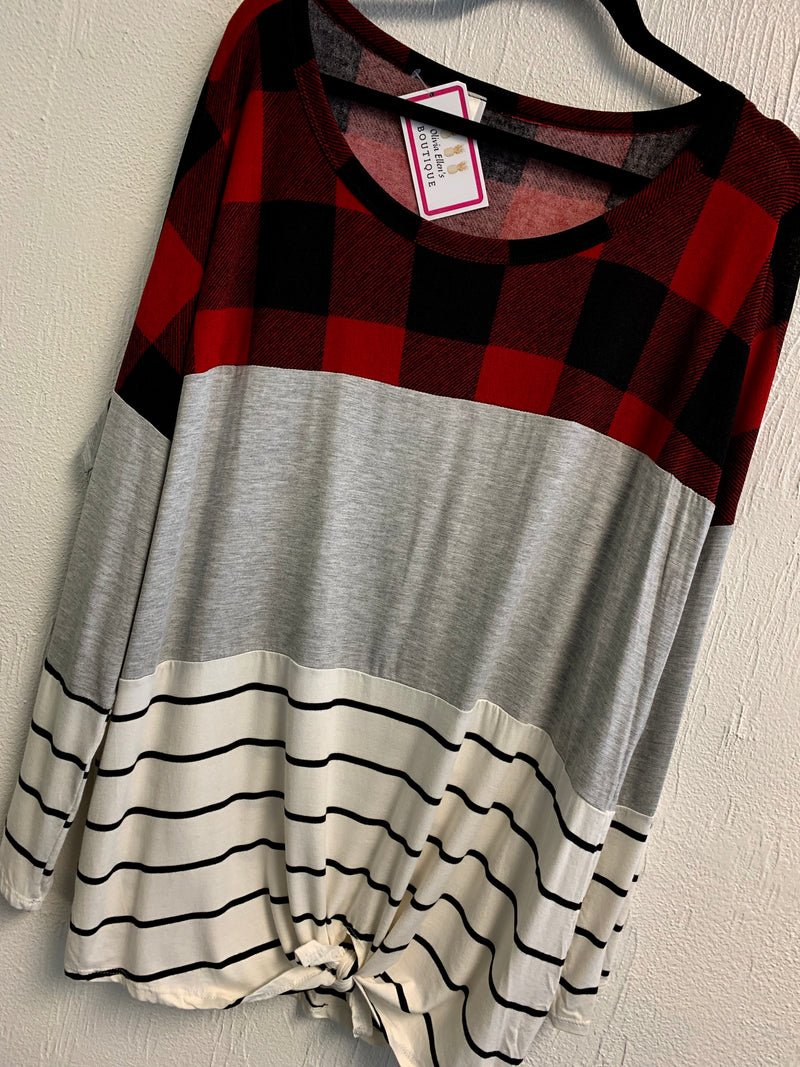 Curvy Buffalo Plaid Color Block Top