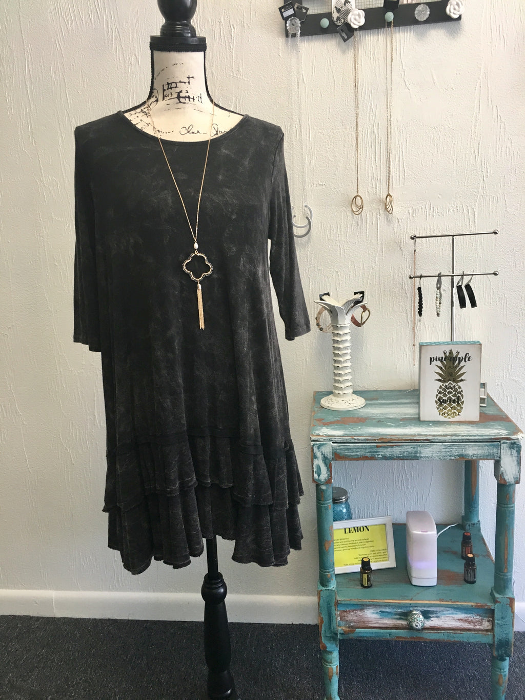 Black Mineral Washed Ruffle Dress