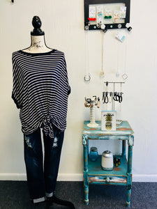 Curvy Navy Striped Knotted Top