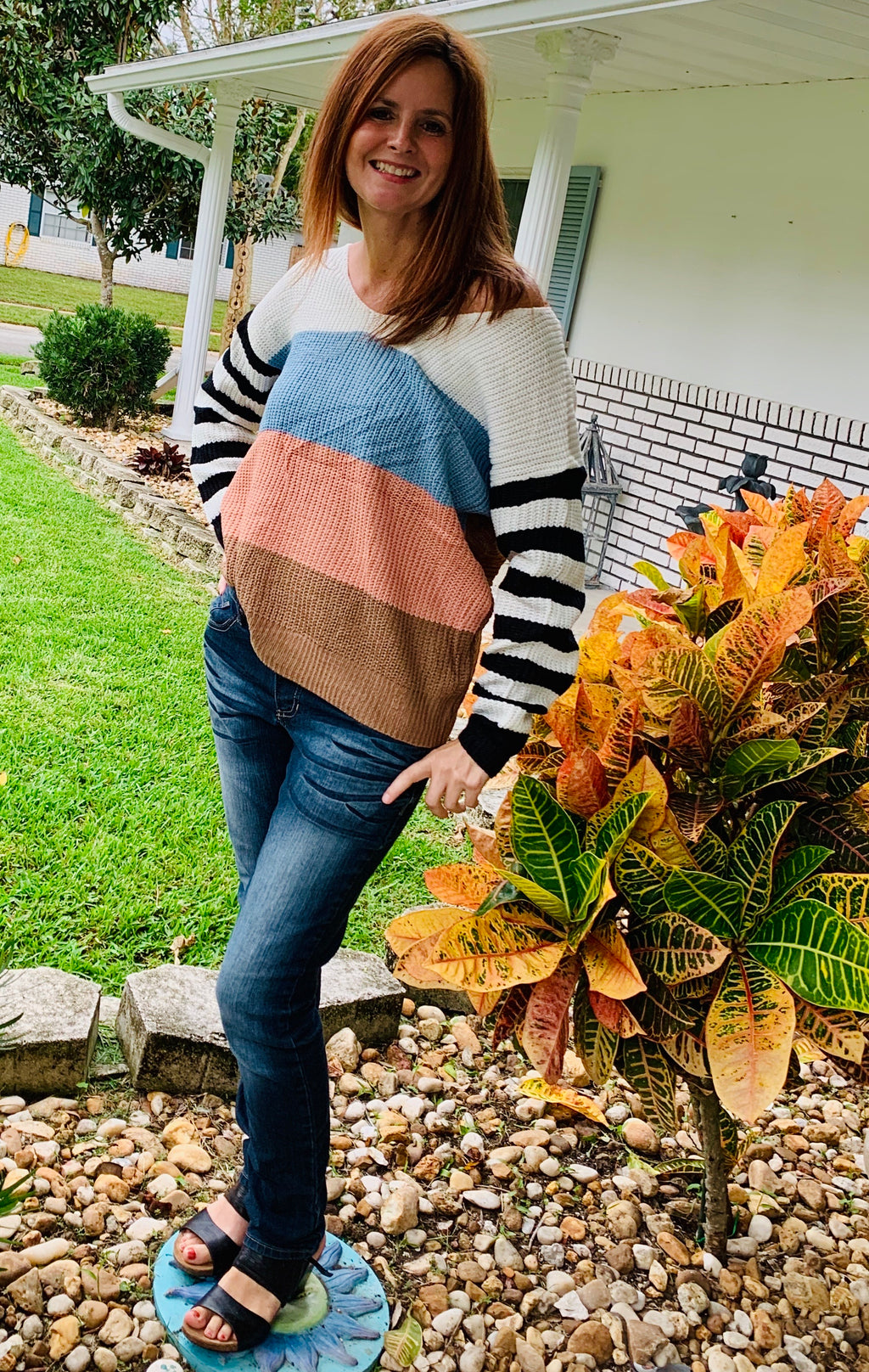 Twisted Back Color Block Sweater