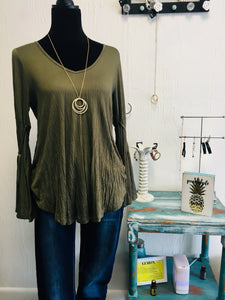 Olive Bell Sleeve Tunic