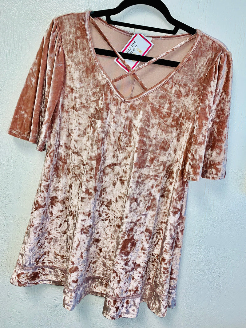 Mauve Criss-Cross Crushed Velvet Top