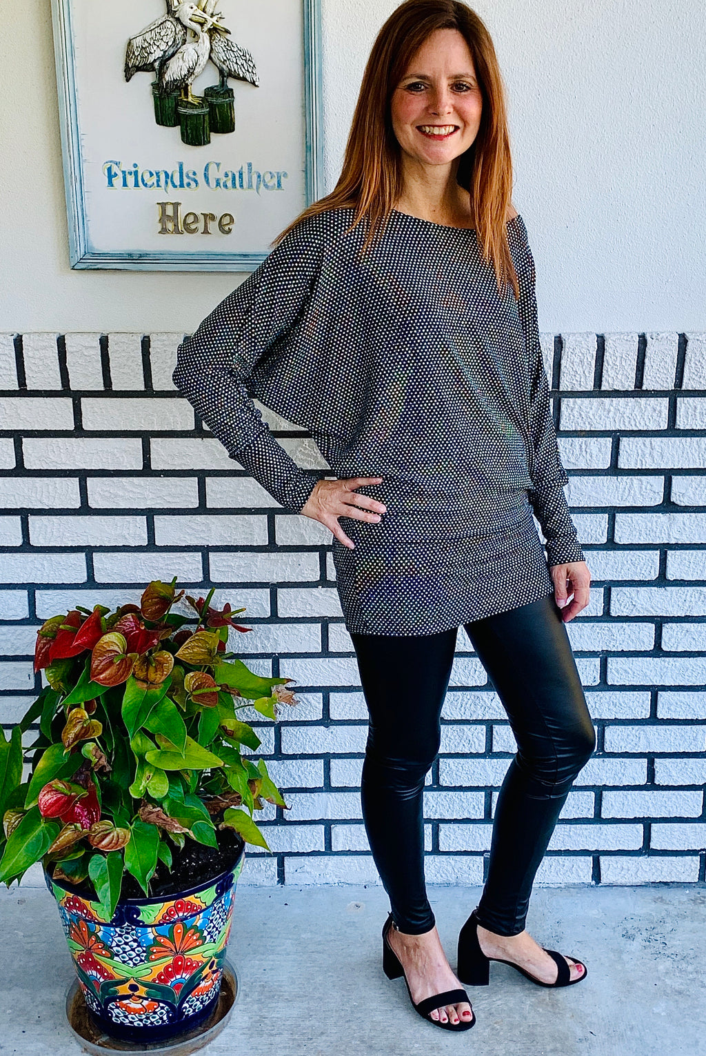 Metallic Dolman Top