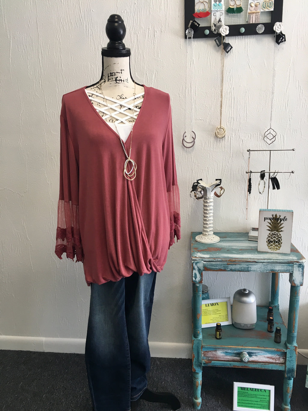 Curvy Burgundy Surplice Lace Sleeve Top