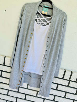 Long Snap Button Cardigan