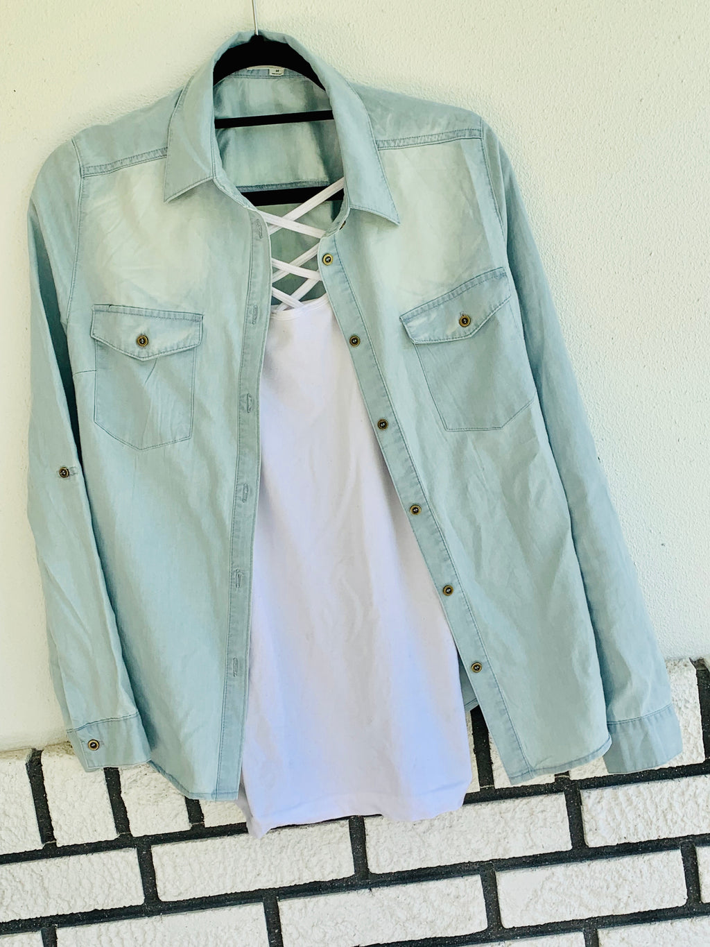 Light Blue Chambray Top