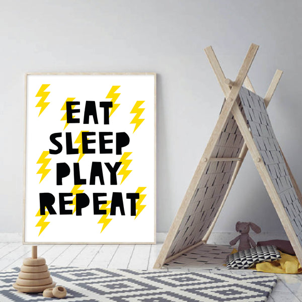 Eat Sleep Play Repeat - plakat