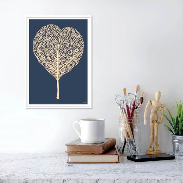 Golden leaf Blue - plakat