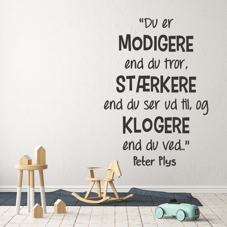 Peter plys citat wallsticker