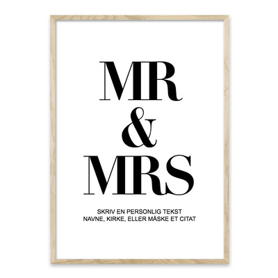 Mr & Mrs - bryllups plakat