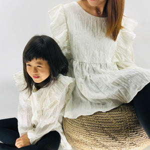 The Adelaide matching-with-mom Blouse, Ivory white