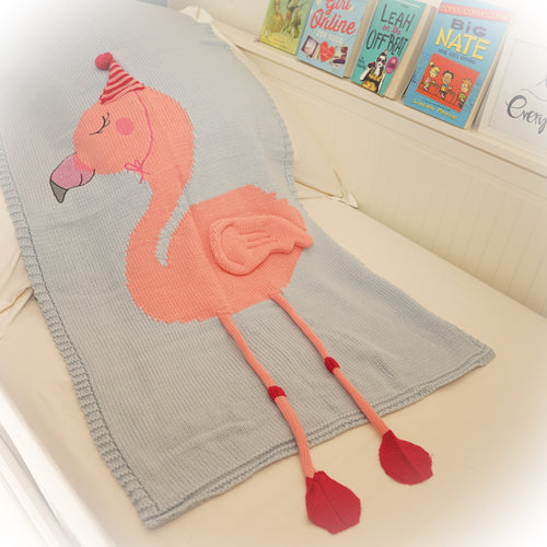 Flamingo knit blanket, light blue