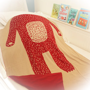 Reversible Bear Knot Blanket, Beige & Red