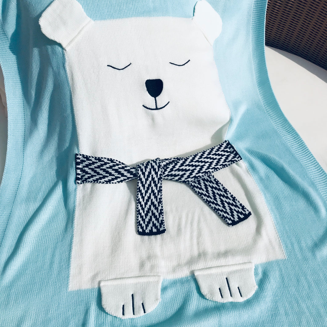 Polar Bear Knit Blanket, light blue