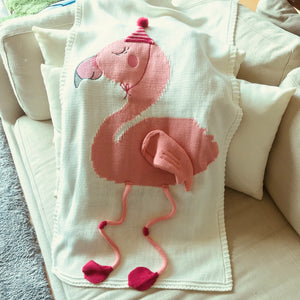 Flamingo Knit Blanket, white