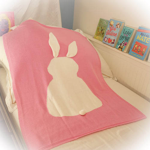 Bunny Knit Blanket, pink