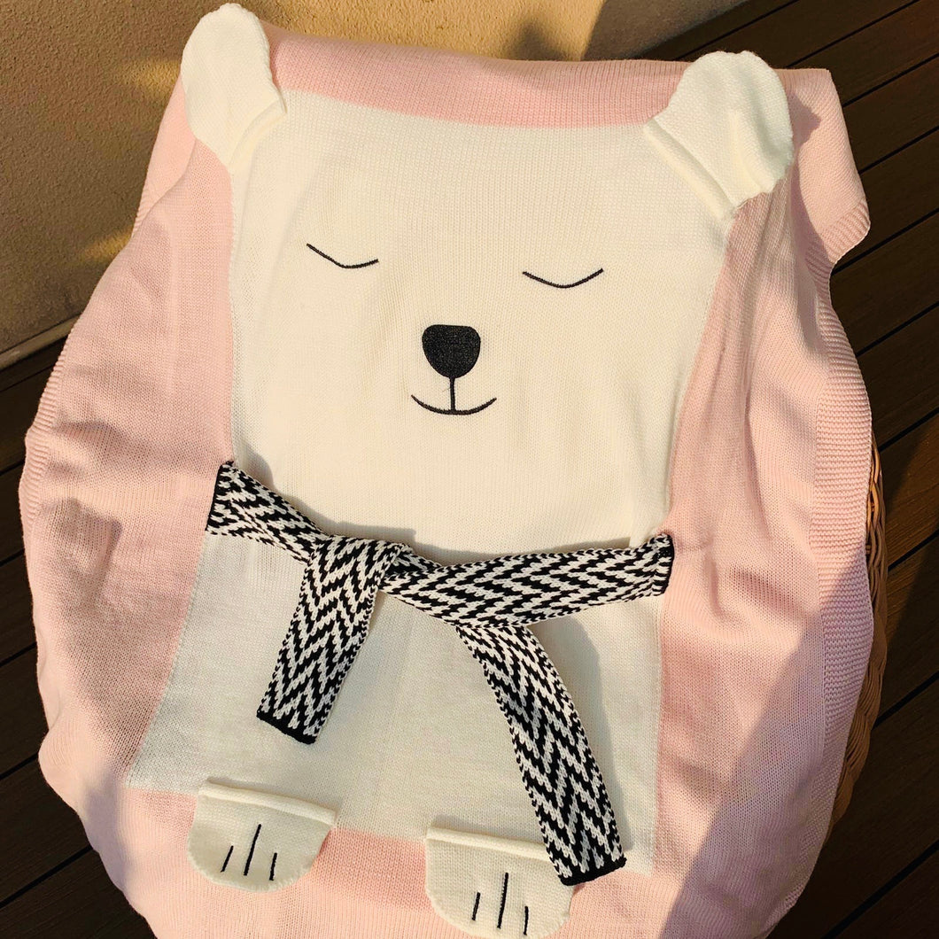 Polar Bear Knit Blanket, pink