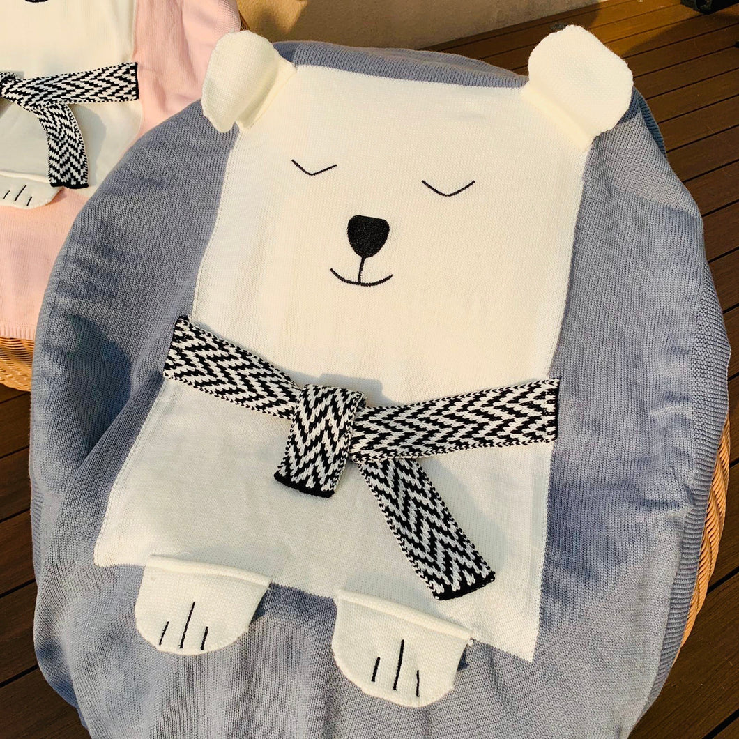 Polar Bear Knit Blanket, grey