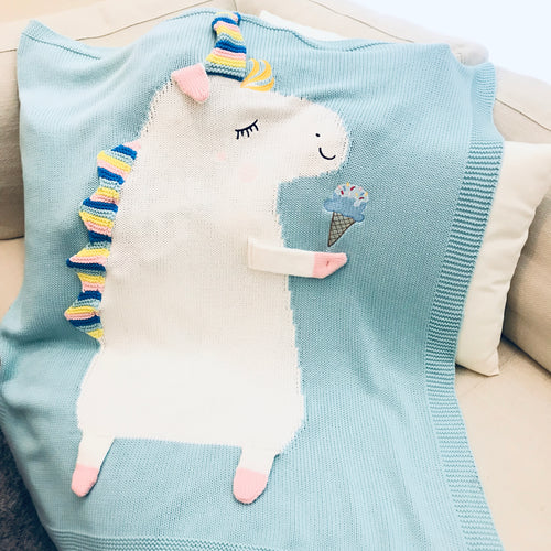 Green Unicorn Knit Blanket