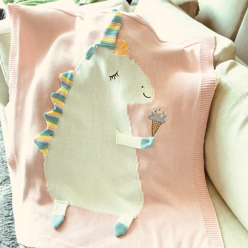 Pink Unicorn Knit Blanket