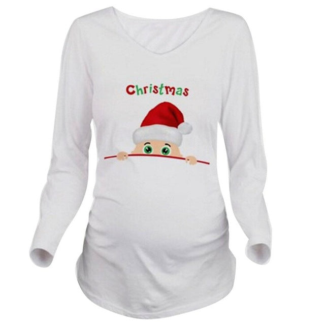 women christmas maternity top hover to zoom - Christmas Maternity