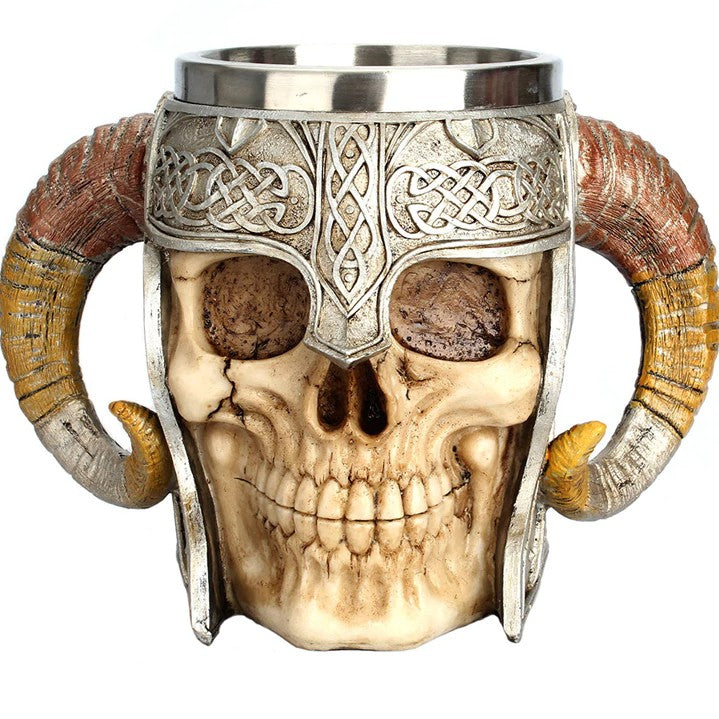 """Ram Horned Warrior"" Skull Mug"