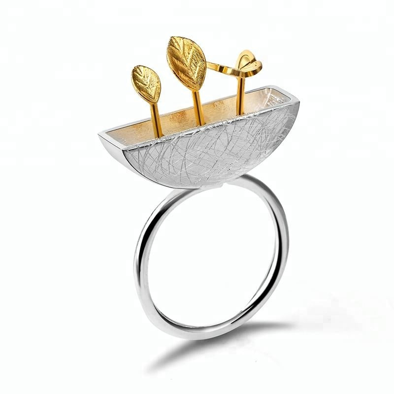 Design My Little Garden 925 Silver White Gold Ring - Buy White Gold Ring