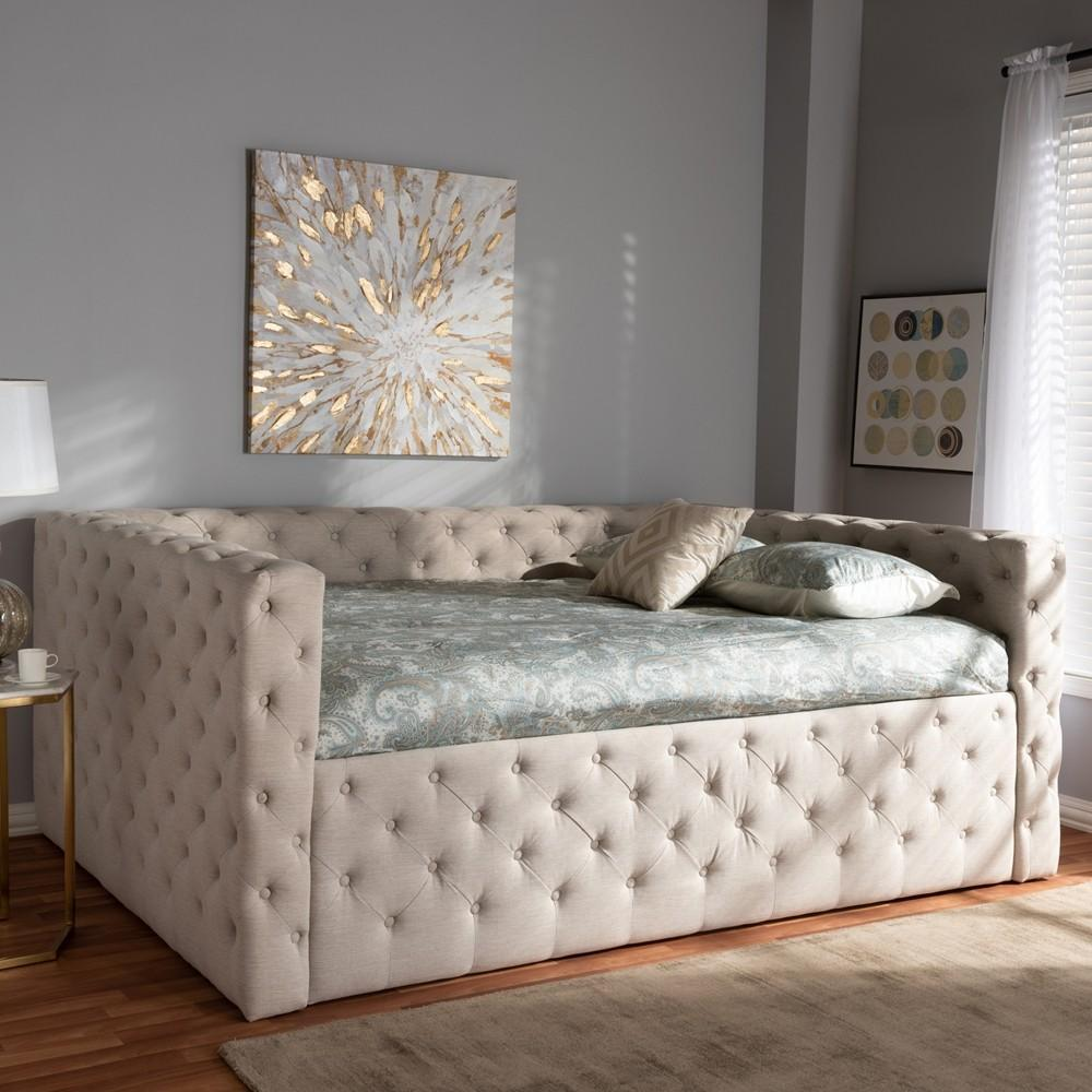 Full size modern upholstered daybed beige