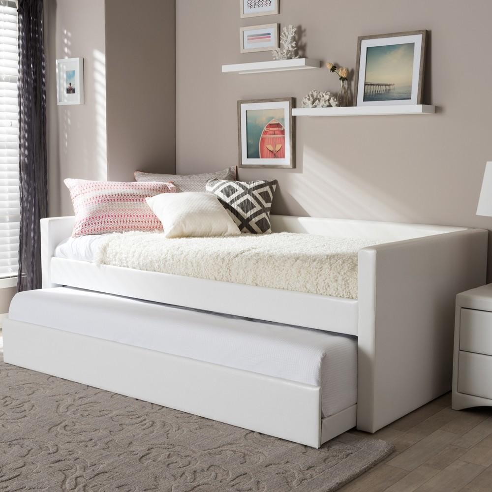 White upholstered daybed