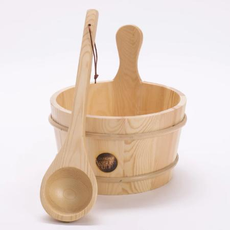 bucket and ladle sauna accessories.