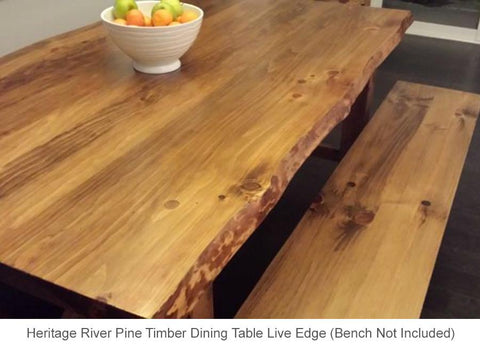 Heritage River Pine Live Edge dining Table 8 seater dining table 8 chairs