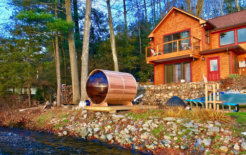 panoramic barrel sauna outdoor canada.