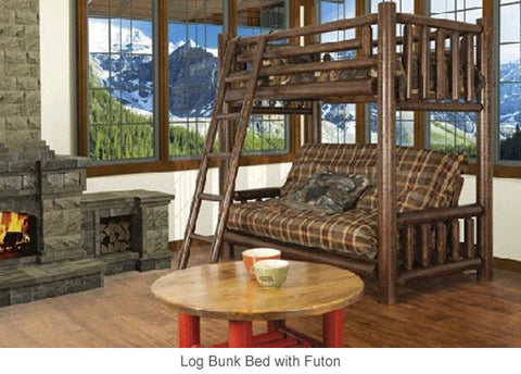 bunk bed with futon in living room