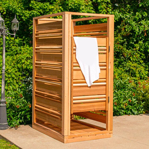 Outdoor shower with privacy screens.