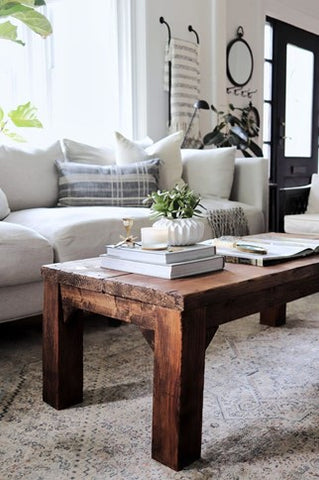 modern rustic living room furniture and decor for cottage.