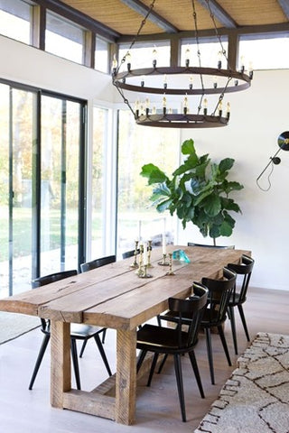rustic dining room decor with chandelier and plant.