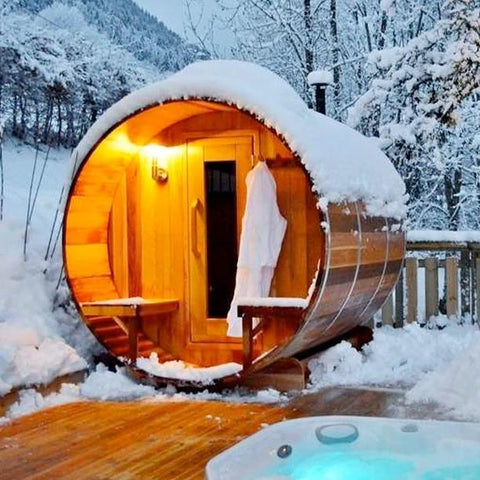 outdoor barrel sauna canada winter