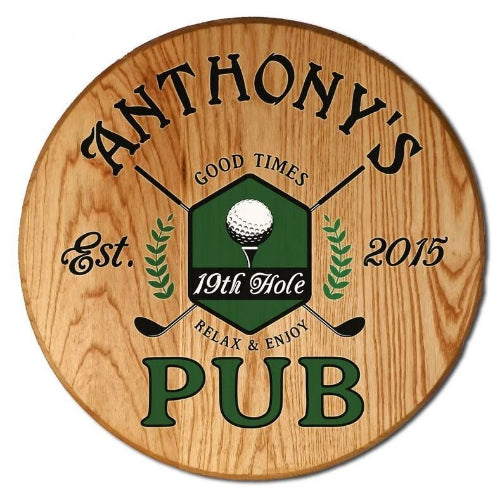 19th Hole Pub Barrel Sign