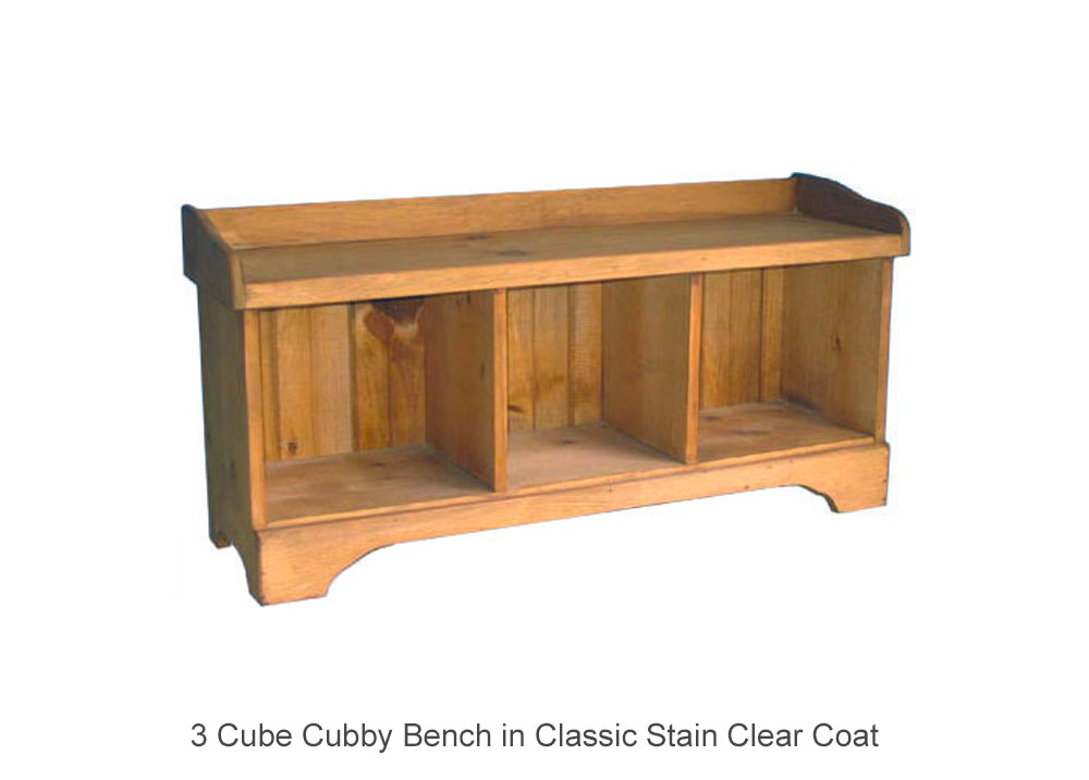 3 Cube Cubby Bench in Classic Stain Clear Coat