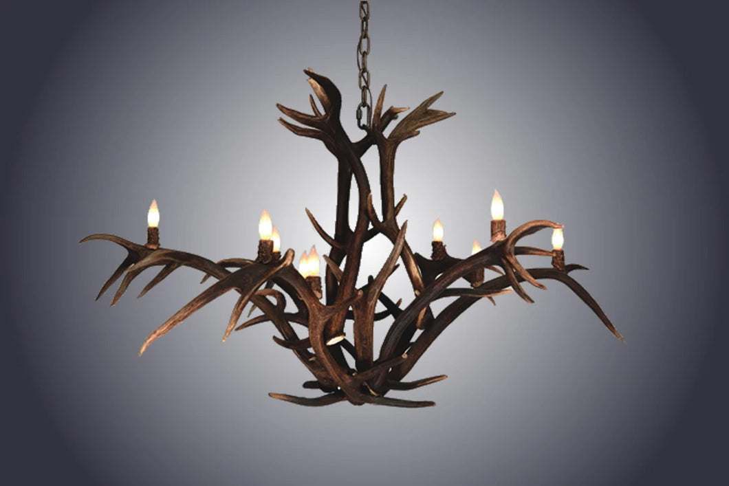 Antler Chandelier - 12 Light Red Stag