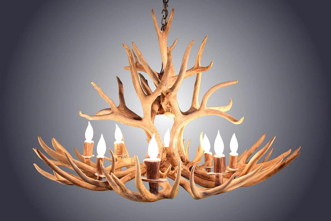 Antler Chandelier 8 Light Oval Mule Deer